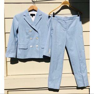 J. Crew Double Breasted Blazer Pant Cotton Suit
